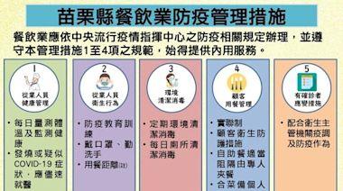 二十七日至八月九日調降疫情警戒標準至第二級 苗栗縣餐飲業應遵守防疫相關規定