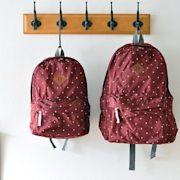 日本 SOLEIL 酒紅色波點防潑水尼龍布 可折疊 超輕量 親子裝 背囊 ($220 包順豐)