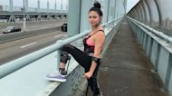 Hannah Gavios, paralyzed after falling 150 feet off a cliff while escaping her attacker, is doing her first marathon on crutches