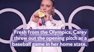 Olympic Gymnast Jade Carey Just Made This First Pitch Flip Look Effortless