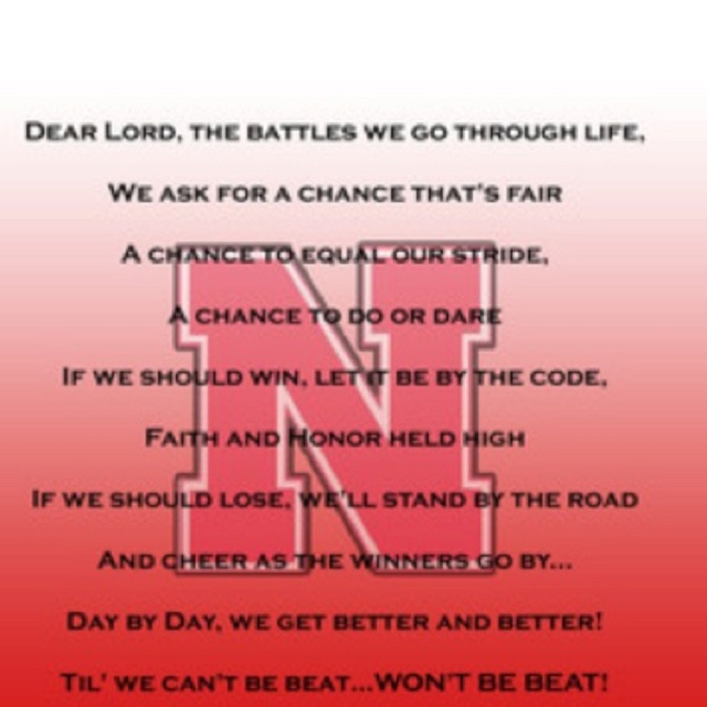 University of Nebraska pregame prayer | Huskers | Pinterest