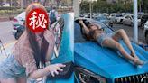 超正熱褲妹「用身體洗車」 身分竟是百萬YouTuber成員