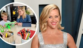 Photos show how celebrities like Reese Witherspoon and Pink have turned their homes into classrooms for their kids