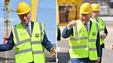 Chipper Charles laughs off Harry parenting row as he visits Belfast shipyard