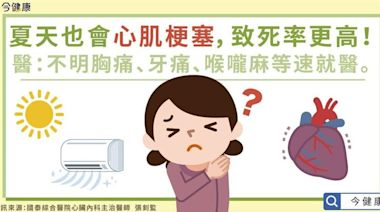 夏季心肌梗塞致死率高3大原因 不明胸痛、牙痛等要小心!