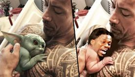 Dwayne Johnson Posts Picture With Baby Yoda and Manages to Troll Kevin Hart at the Same Time