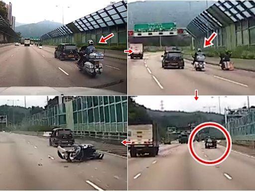 車Cam直擊:大埔吐露港公路電單車撞私家車 巴裔鐵騎士重創昏迷
