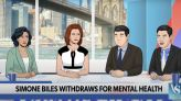 Colbert's Cartoon Anchors Brutally Mock Simone Biles Haters: Dropping Out Was Unacceptable in 'My Entire Semester of JV Cross...