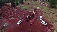Drone footage shows Jakarta cemetery near capacity