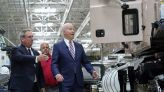 At Mack plant, Biden checks out big rigs, chats up workers