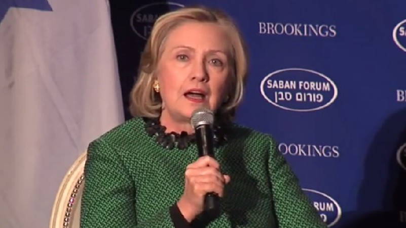 Hillary Clinton speaks at the Saban Forum in Washington on December 5 ...