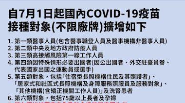 影/65歲以上者7月開打疫苗 自費第一劑者可公費打第二劑