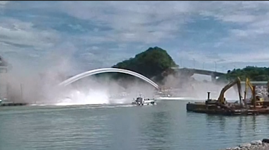 Shocking footage shows giant bridge collapse in Taiwan