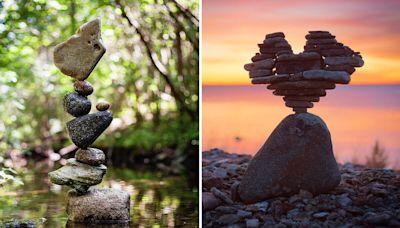 瑞典攝影師用高超平衡技巧玩疊石(多圖)