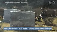 Photo Goes Viral of Uniformed Man Kneeling at Beau Biden's Grave While Dad Joe Biden Is Sworn in as President