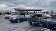 Drivers Brave Long Gas Station Lines Amid Fuel Shortage in Woodstock, Georgia