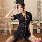 【阿性精品】角色扮演服 四件組女警察制服連身洋裝-黑色 cosplay