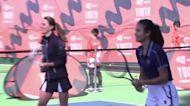 Kate plays tennis with Emma Raducanu