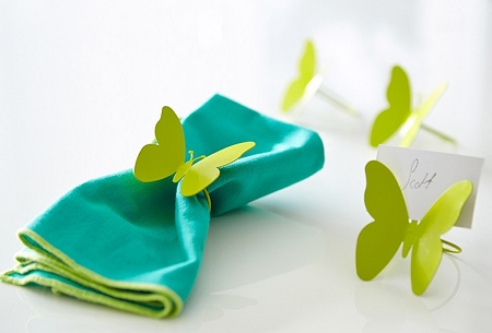... > Napkins and Napkin Rings > Green Butterfly Napkin Holder Set of 4