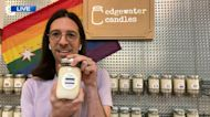 Edgewater Candle's Pride Flag Candle supports The Trevor Project