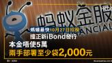 螞蟻料下周招股|撞正iBond發行|本金唔使5萬 兩手部署至少袋2,000元