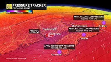 Record-breaking low pressure targeting Atlantic Canada late-week