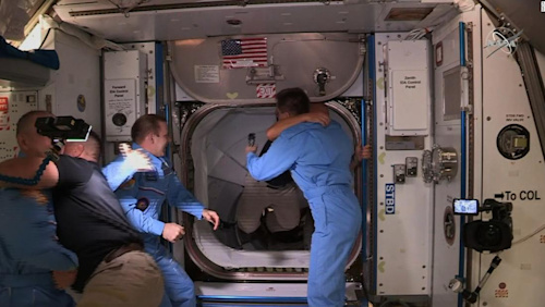 US astronauts welcomed aboard International Space Station - CNN Video