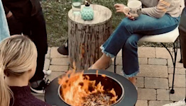 The TIKI fire pit creates a safe and clean fire for the best backyard vibes
