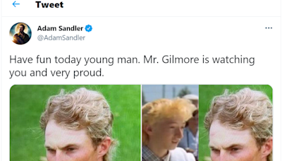 Adam Sandler saw a Happy Gilmore resemblance with Will Zalatoris, who had a funny reply