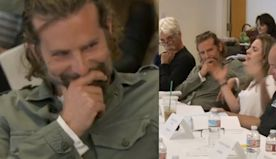 Fans Go Wild After Seeing Bradley Cooper's Reaction to Lady Gaga in Rare 'A Star Is Born' Table Read Clip