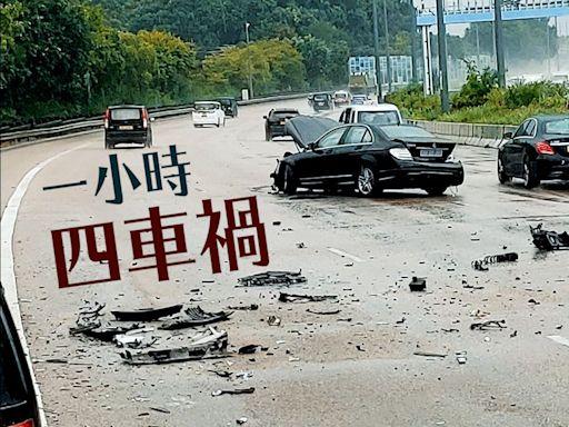 交通意外|吐露港公路一小時四車禍 涉11車現場塞爆