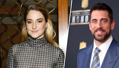 Shailene Woodley and Aaron Rodgers match in their Kentucky Derby finest in group pic