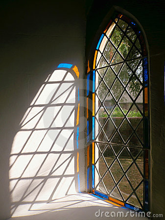Royalty Free Stock Photo: Church Stained Glass Window Light, England.