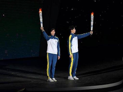 110全運會開幕 盧彥勳、羅嘉翎點燃聖火
