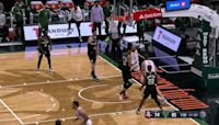 Kenyon Martin Jr. with an alley oop vs the Milwaukee Bucks