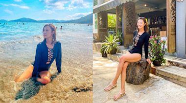 朱智賢走出偷食陰霾積極復工 沙灘戲水騷長腿心口獨特設計好誘惑