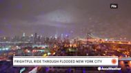 Frightening ride through New York City on a flooded bus
