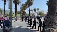 Police Advance on Protesters Near Wi Spa in Los Angeles