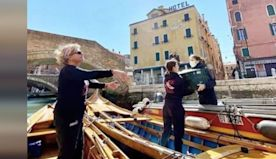 Female Rowers Take To Gondolas To Deliver Food To Elderly In Venice.