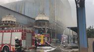 伸港煉鋼廠大火 濃煙密布疏散百員工幸無傷亡