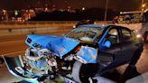 私家車青葵公路撞翻七人車 司機拆走車牌逃去