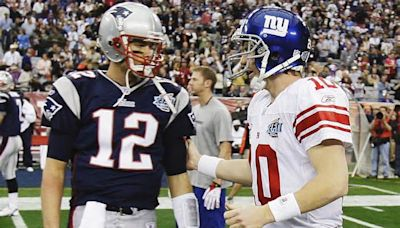 Giants' Eli Manning reacts to Buccaneers' Tom Brady, who would trade 2 Super Bowl rings for perfect season with Patriots