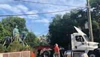 Two Confederate statues removed in Charlottesville, Virginia