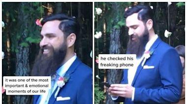 新娘走紅毯最幸福一刻 新郎竟在滑手機:加密貨幣不休息
