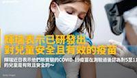 輝瑞表示已研發出對兒童安全且有效的疫苗