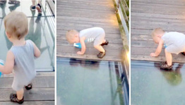 Toddler has adorably cautious reaction to glass-bottom bridge: 'That's a nope for me'