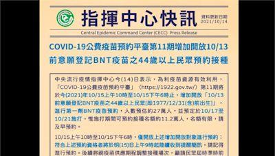 BNT再加開!第11輪增開44歲以上民眾預約接種第一劑