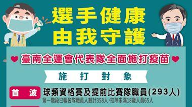全力備賽 台南市為全運會選手優先施打疫苗