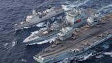 英國航母伊麗莎白女王號抵南海 衛星圖顯示中國派出山東號「歡迎」