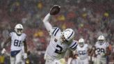 Carson Wentz leads Colts to rain-soaked win over 49ers